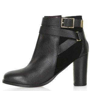 Topshop Harper ankle boots booties Gold buckle